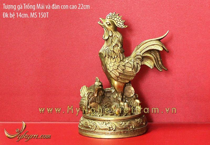 tượng gà trống gà mái và gà con , gà đồng phong thủy 22cm