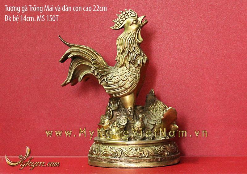 tượng gà trống gà mái và gà con cao 22cm