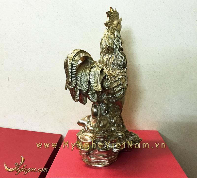 tượng gà đồng cao cấp cao 22cm đứng hoa cúc đống tiền vàng