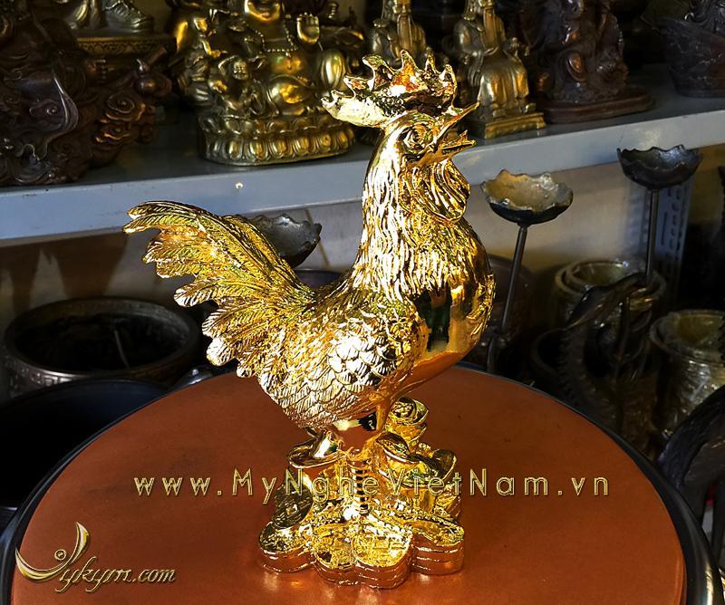 tượng gà đồng mạ vàng làm quà tặng cao cấp năm mới