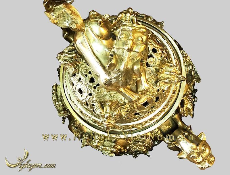 đỉnh đồng song long đúc nổi vàng bóng 60cm
