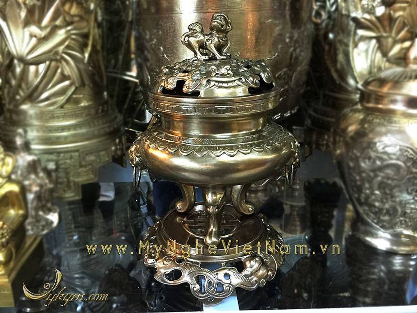 đỉnh đồng thờ cúng đỉnh đốt trầm bày bàn thờ gia tiên0