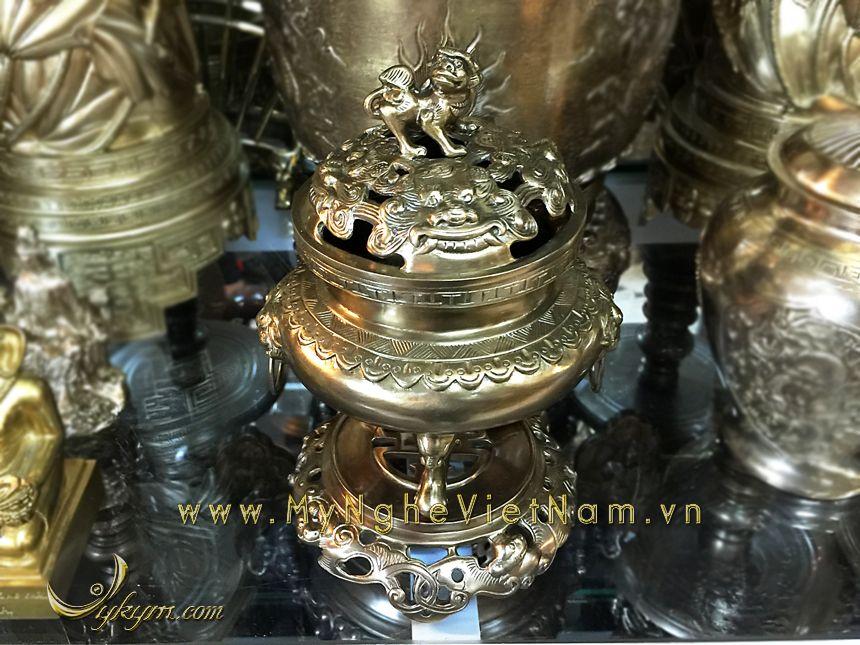 đỉnh đồng thờ cúng đỉnh đốt trầm bày bàn thờ gia tiên