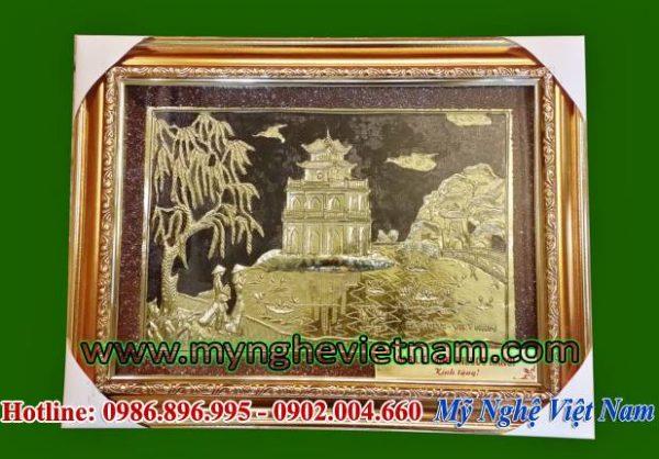 tranh quà tặng văn hóa, tranh tháp rùa hồ gươm hồ hoàn kiếm