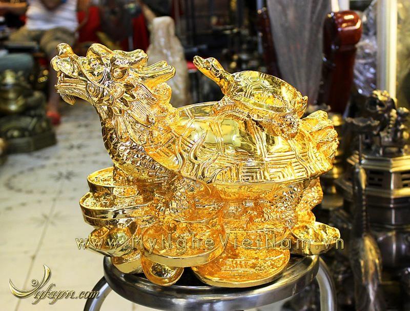 tượng long quy, tượng rùa đầu rồng phong thủy mạ vàng cao cấp