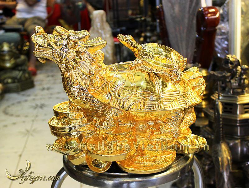tượng long quy, tượng rùa đầu rồng phong thủy mạ vàng cao cấp0