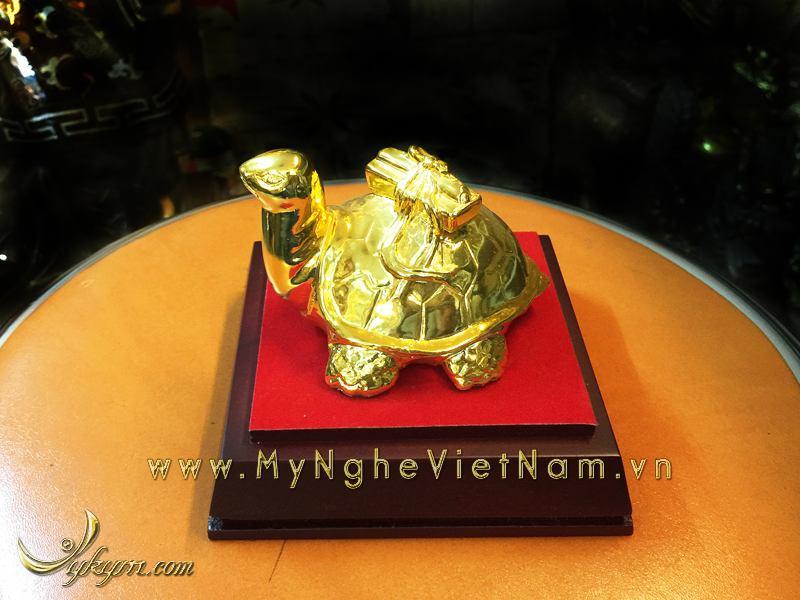 tượng rùa cõng sách mạ vàng để bàn làm việc0