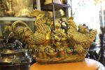 tượng gà đồng chầu hũ tiền dài 37cm