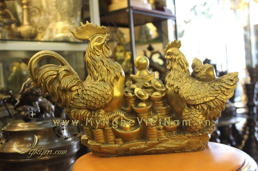 tượng gà chầu hũ tiền dài 37cm bằng đồng