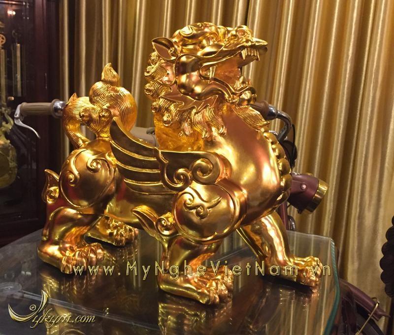 tỳ hưu dát vàng 9999, tỳ hưu đồng phong thủy cao cấp cao 36cm