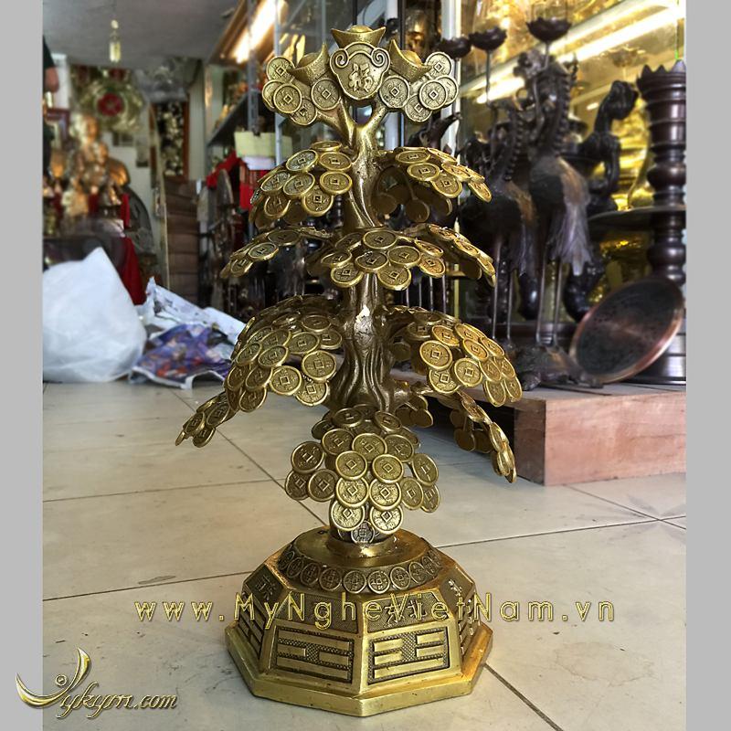 cây tiền phong thủy bày bàn thờ thần tài 40cm0