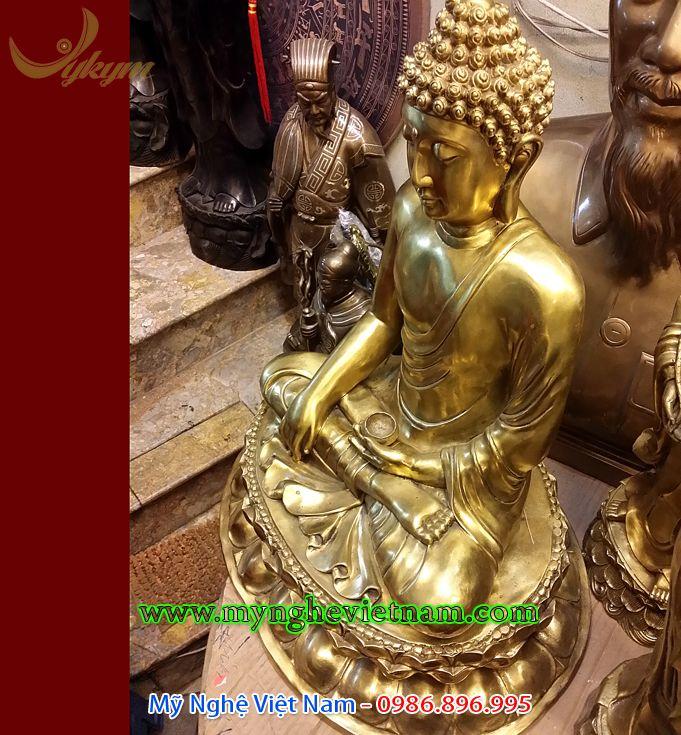 tượng phật thích ca mâu ni cao 60cm bằng đồng