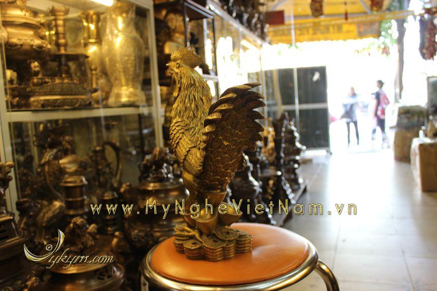 tượng gà phong thủy cao cấp bằng đồng năm đinh dậu cao 40cm