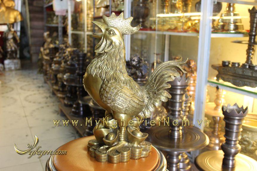 Tượng con gà trống đứng tiền cao 40cm bằng đồng0