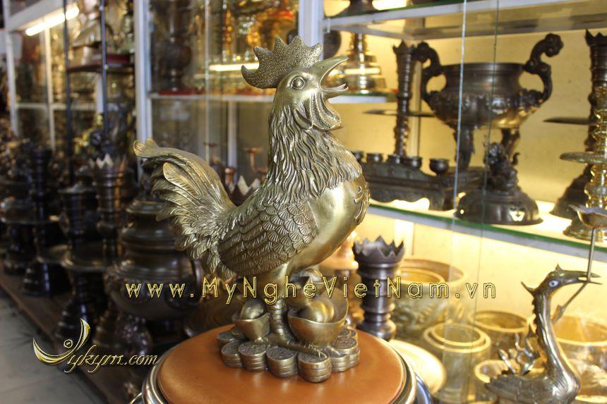 tượng con gà đồng phong thủy cao cấp năm đinh dậu cao 40cm đứng tiền