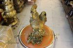tượng gà đồng phong thủy cao cấp năm đinh dậu cao 30cm đứng tiền hoa hồng