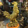 tượng gà đồng phong thủy cao cấp năm đinh dậu cao 50cm đứng tiền hoa hồng