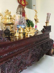 bộ đỉnh đồng bày bàn thờ, đỉnh mạ vàng 24k cao cấp