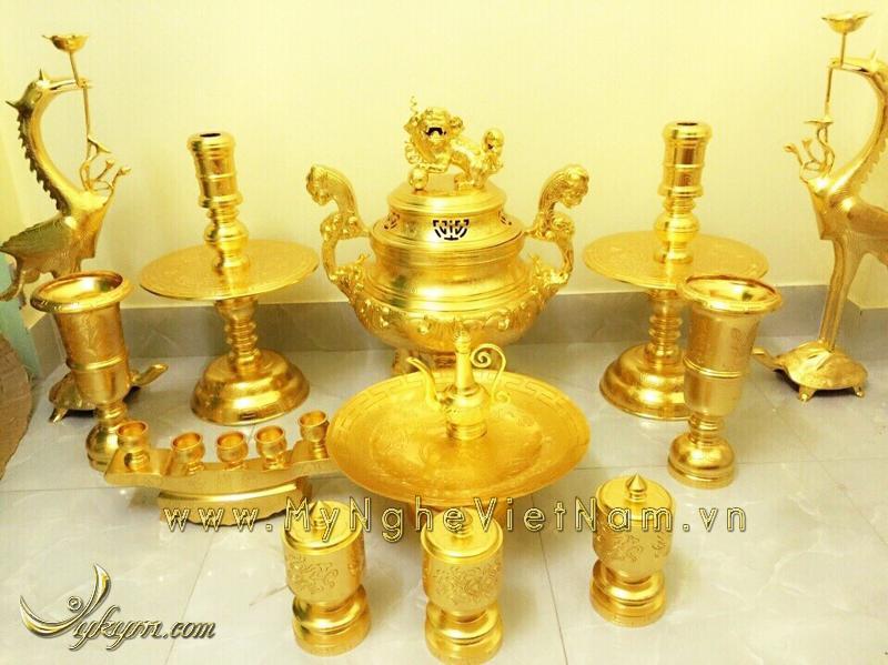 Bộ đỉnh đồng mạ vàng, đỉnh thờ cúng mạ vàng 24k cao cấp