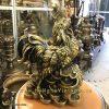 tượng gà trống đứng tiền và gậy như ý 30cm