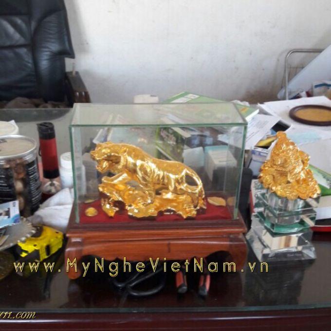 Quà tặng tượng hổ đồng 12 con giáp mạ vàng0