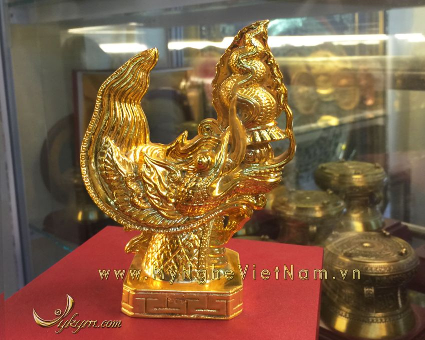 tượng đầu rồng thời lý mạ vàng 15cm