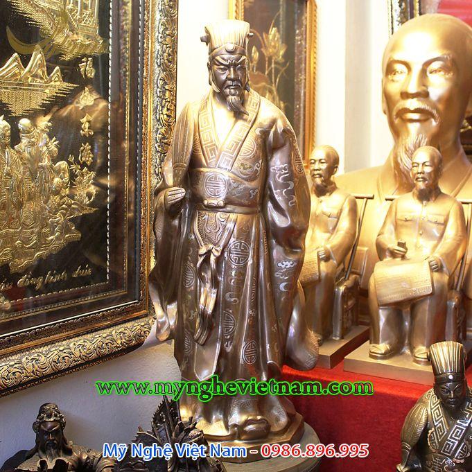 tượng khổng minh khảm bạc cao cấp 70cm0