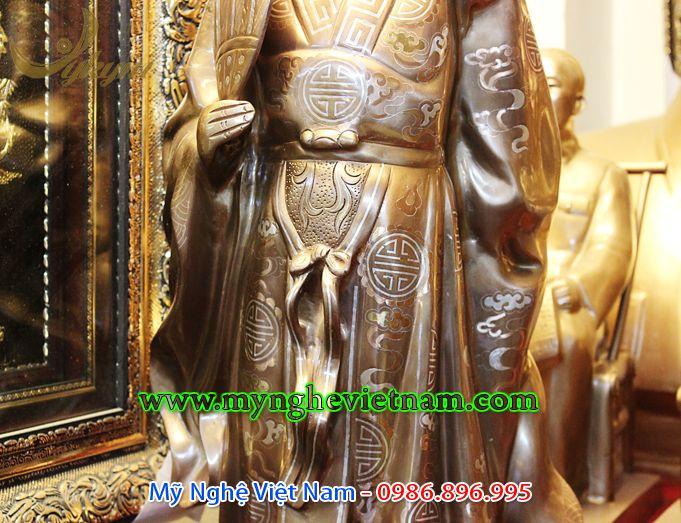 tượng khổng minh khảm bạc cao cấp 70cm