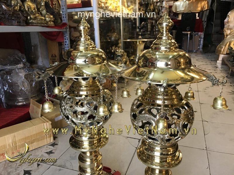 đèn thờ long phượng cắm điện cao 60cm