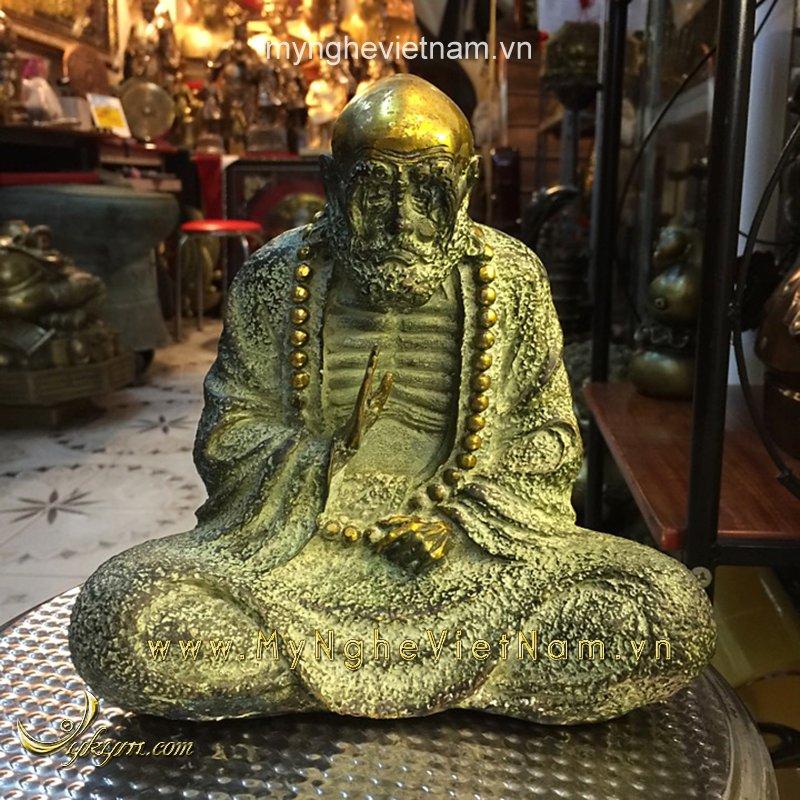 tượng đạt ma sư tổ ngồi thiền 20cm giả cổ