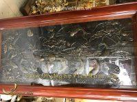 tranh cửu ngư 9 con cá chép hoa sen phong thủy giả cổ