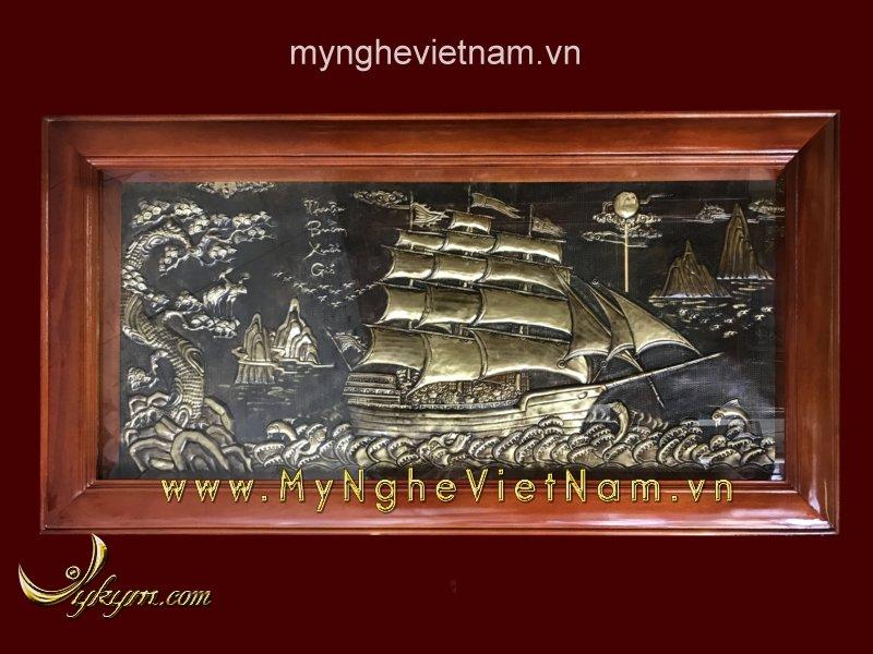 tranh thuyền buồm bằng đồng giả cổ 1m55