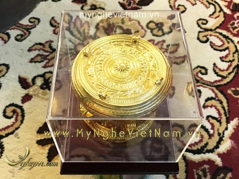 Trống đồng đk 12cm mạ vàng nano cao cấp