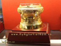 trống đồng mạ vàng đường kính 9cm quà tặng cao cấp