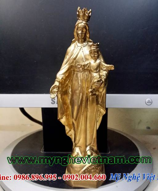 tượng đức mẹ maria, tượng đức mẹ đồng trinh bằng đồng 17cm