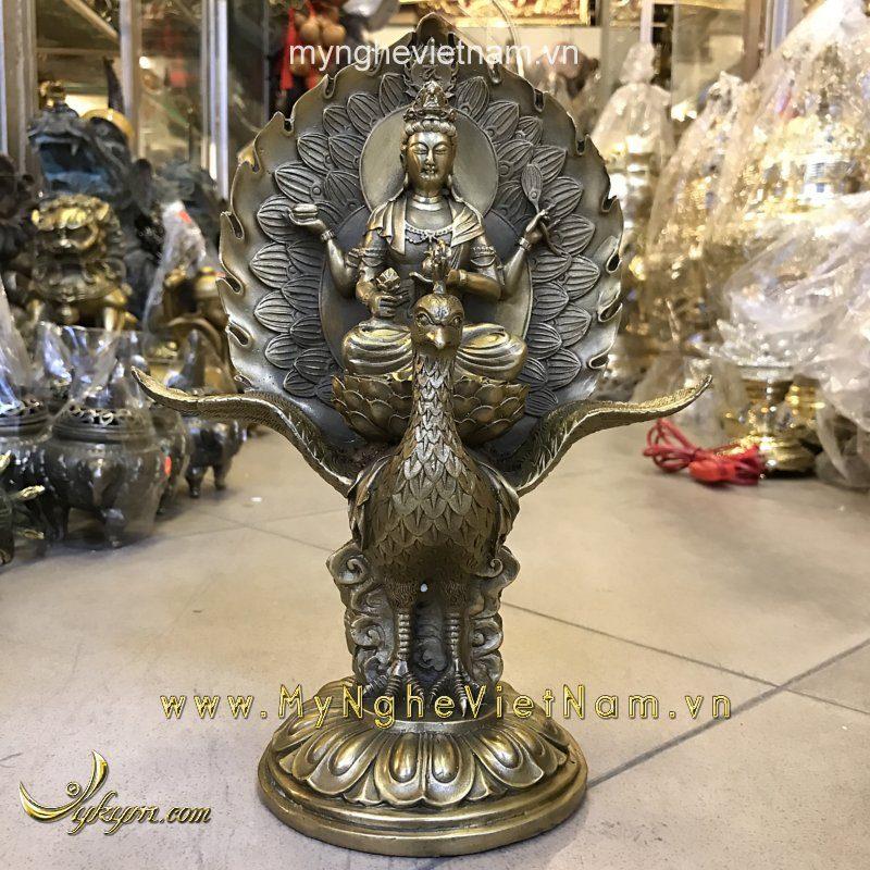 tượng bồ tát tứ thủ ngồi phượng hoàng cao 28cm