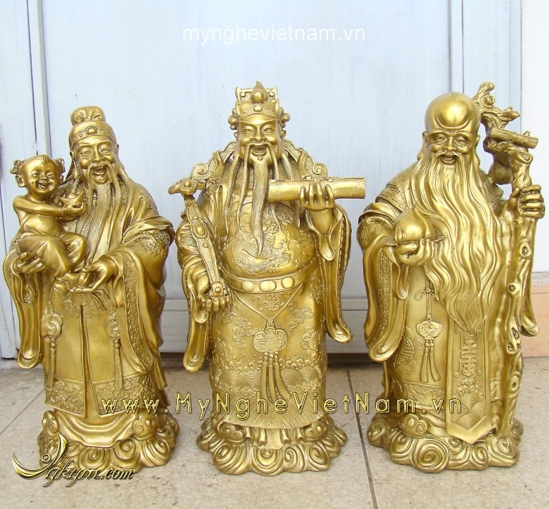 Tượng tam đa cao 36cm đồng vàng0