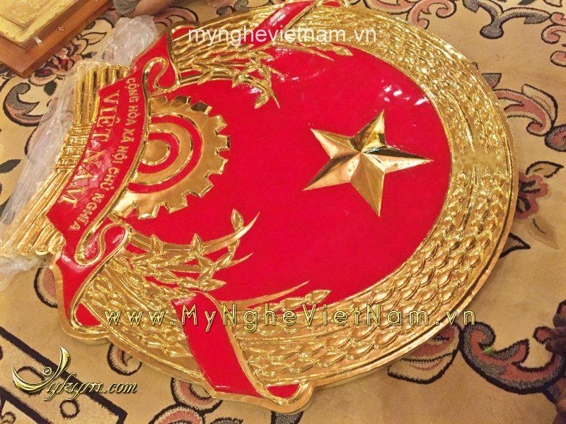 Quốc huy đồng mạ vàng 9999 cao cấp