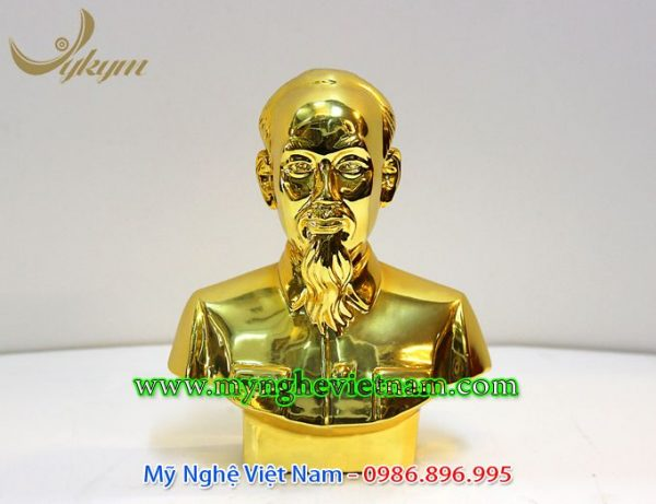 tượng bán thân bác hồ mạ vàng 20cm