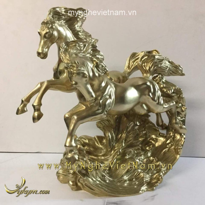 tượng song mã, tượng ngựa phi song mã đẹp bằng đồng
