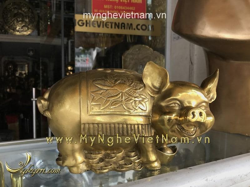 Tượng lợn đồng heo đồng phong thủy dài 25cm0