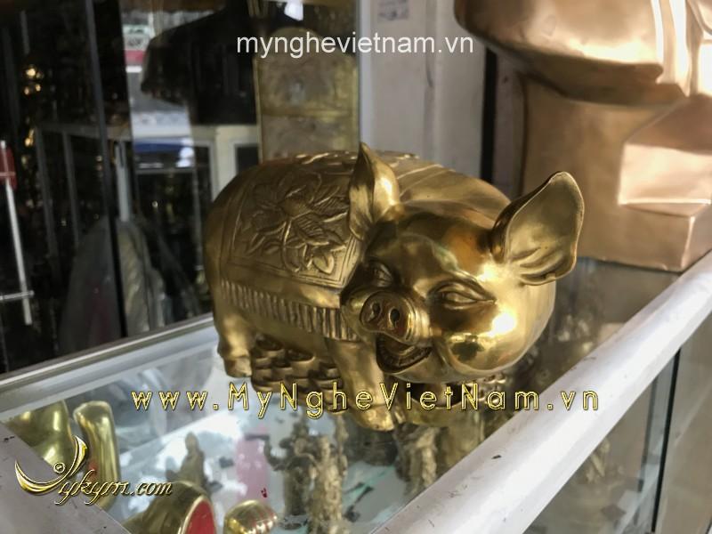 tượng lợn đồng heo đồng phong thủy dài 25cm
