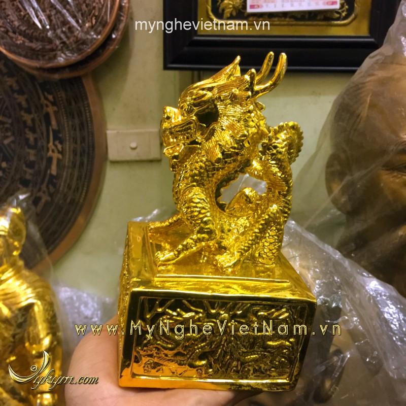 ấn rồng bằng đồng mạ vàng 20cm0
