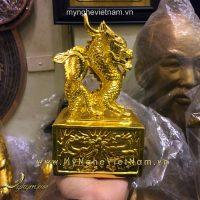 ấn rồng bằng đồng mạ vàng 20cm