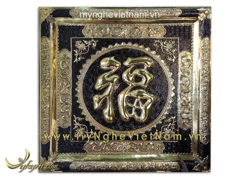 Tranh chữ phúc bằng đồng liền khung 60cm