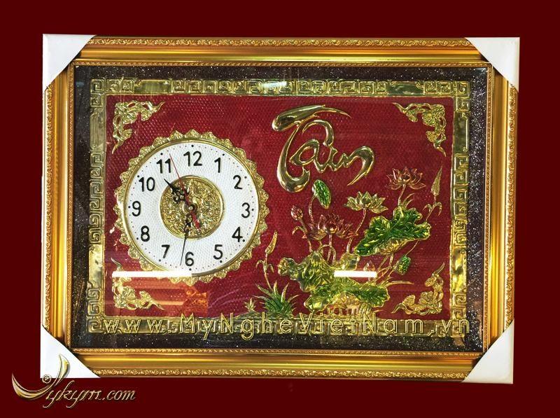 tranh đồng chữ tâm có đồng hồ 50x70cm