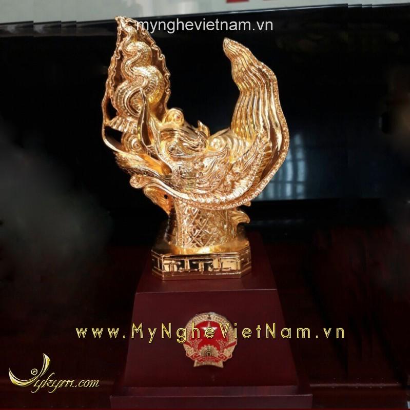 biểu tượng đầu rồng thời lý cao 25cm mạ vàng 24k