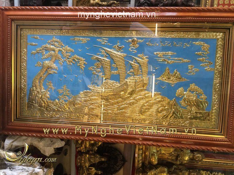 tranh thuyền buồm bằng đồng 1mx1m7