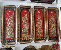 tranh đồng tứ quý tùng cúc trúc mai nền đỏ đẹp 1m