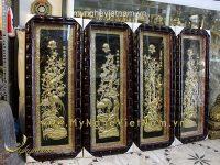 tranh tứ quý khung trúc 40x100cm bằng đồng tấm